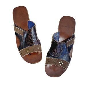 Mark Nason Leather Dragon Embossed Sandals